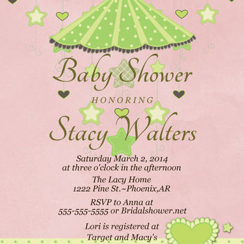 Baby Shower Invitation-Printable-Mobile-Custom colors, Baby Shower invites, pink and green