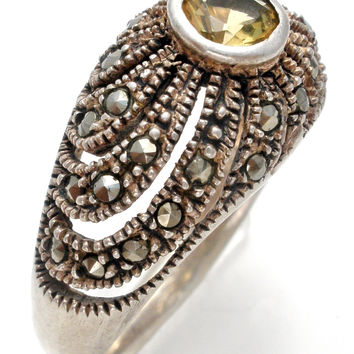 Sterling Silver Citrine & Marcasite Ring Size 8.5