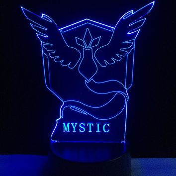 Pokemon Go Team Mystic Articuno Color-Changing USB-Powered 3D LED Night Light Desk Lamp for Kids and Fans Christmas Party Gift