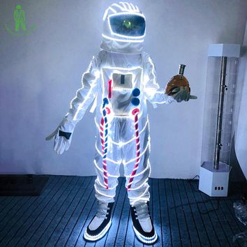 Free Shipping Christmas Carnival Halloween LED Lighting Space Suit For Masquerade Party Club Cosplay Luminous Astronaut Costume