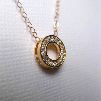 Circle Necklace - Gold Circle Necklace - Open Circle - 3D Circle - Friendship Gift - 14k Gold fill Chain - Choose Chain length