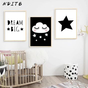 NDITB Baby Living Room Canvas Posters Wall Art Nursery Prints Painting Black White Decoration Picture Nordic Kids Bedroom Decor
