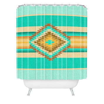 Bianca Green Fiesta Teal Shower Curtain
