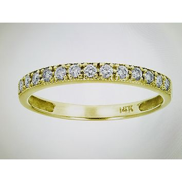 Ethically Mined Natural Diamond 14K Yellow Gold Scallop Setting Round Diamond Wedding Band