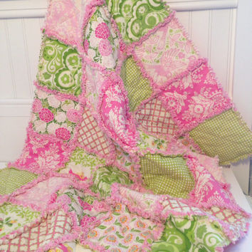 Baby Girl Rag Quilt, Crib Quilt, Toddler Quilt, Nursery Blanket, Up Parasol, 35 X 48. Pink, Cream, Green, Handmade, Ready to Ship