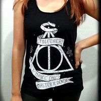 S,M,L,XL - Deathly Hallows Symbol Sign Harry Potter Women Sleeveless Black Tank Top Tanktop Tshirt T Shirt