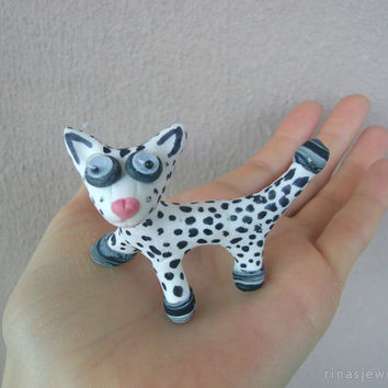 Cute little animal figurine Pet miniature Polymer clay sculpture Cat, dog, whimsical animal, Dalmatian, Pink nose, Cute funny animal gift