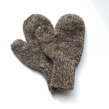 Brown wool mittens - knitted wool mittens - adult wool mittens - wool skiing mittens
