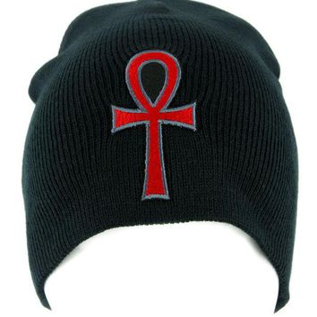 ac spbest Red Ankh Egyptian Hieroglyph Beanie Knit Cap Alternative Clothing Eternal Life Gods