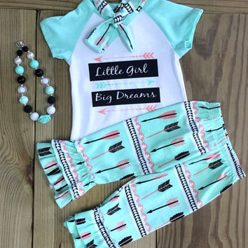 "Little Girl's 3 Piece Boutique Clothing Set ""Little Girl - Big Dreams"" Set"