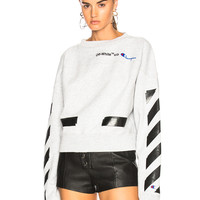 OFF-WHITE Champion Crewneck Sweater in Melange Grey & Black | FWRD