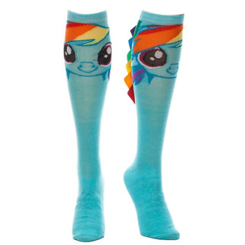 My Little Pony Dash With Faux Rainbow Hair Adult Size Knee High Socks
