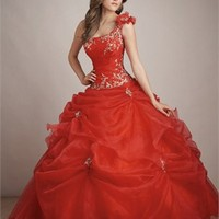 One-shoulder Ball Gown Embroidery Drape Orangered Floor-length Prom Dress PD0598