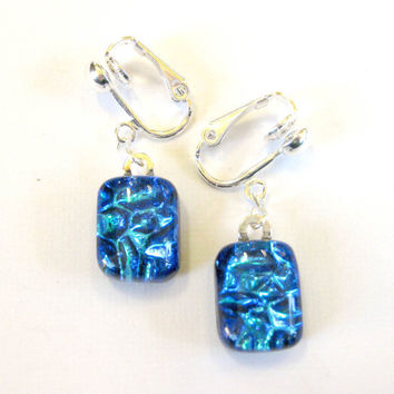 Blue dichroic clip on earrings, Dangle Clip On Earrings - Radiance -  by mysassyglass