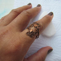 Braid Copper Ring. Spiral Rustic Artisan Weave Ring. Wire Wrapped Adjustable Boho Ring. Metaphysical Copper Healing Jewelry. Israeli Jewelry
