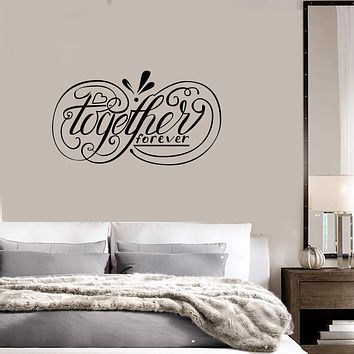 Vinyl Wall Decal Together Forever Quote Love Loving Couple Room Bedroom Interior Stickers Mural (ig5948)
