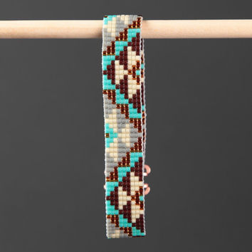 Native American Style Brown Turquoise Bead Loom Bracelet Artisanal Jewelry Southwestern American Indian Motif Christmas Gift for Her Boho