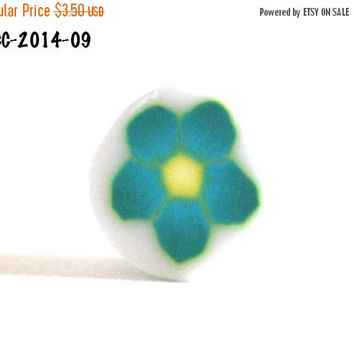 On Sale Raw Polymer Clay Flower Cane Teal and Yellow Handmade Fimo