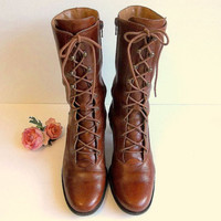 Vintage Brown Leather Granny Boots, lace up mid calf boots with side zipper, stacked heels size 7 - 7 1/2 M by Naturalizer made in Brazil