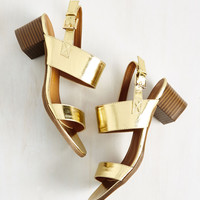 A Necessary Sequel Sandal in Gold | Mod Retro Vintage Sandals | ModCloth.com
