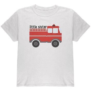 Little Sister Fire Truck Youth T Shirt