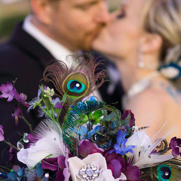 Glorious Peacock Garden Cascade Bridal Bouquet custom created for you
