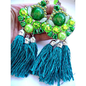 Multicolor Earrings, Statement earrings, Tassel Earrings, Green tassel earrings, Huge tassel earrings, big tassel earrings, green fringe,