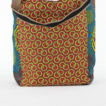 African Print Shopper Bag-Red /Blue Concentric Print