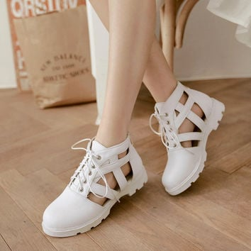 Korean summer cut outs closed toe lace up sandals for women Roman hollow  cool boots student over size 34-43 flat sandals shoes