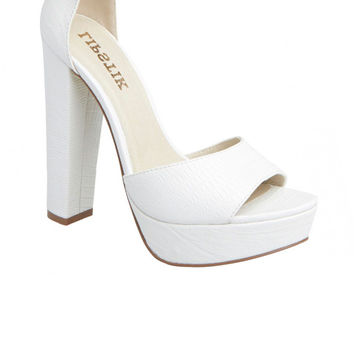 Lipstik Shoes - Merci Heel - White Lizard