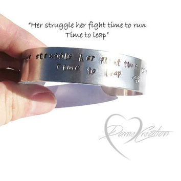 Bracelet Cuff - Horse Stamped Bracelet - Aluminum Cuff - Bracelet with Words - Poetry Bracelet - Inspirational Bracelet - Strong Woman