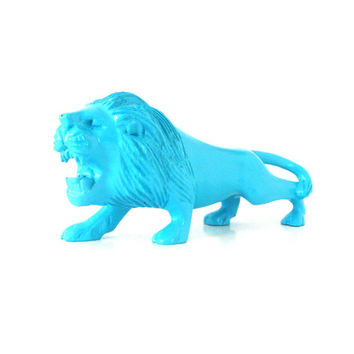 upcycled wood lion figurine, carved wood, animals, animal decor, lions, turquoise