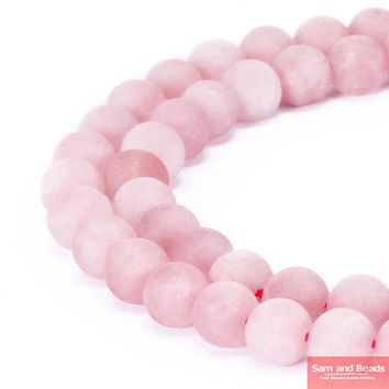 "Natural Stone Dull Polish Matte Rose Pink Quartz Beads 16"" Strand 4 6 8 10 12 14MM Pick Size For Jewelry Making MRPQB01"