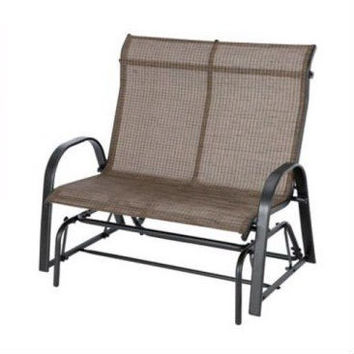 Outdoor High Back Loveseat Glider Chair Patio Garden Bench with Sling Seats