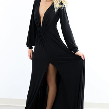 Swanky Invitation Deep V Black Maxi Dress