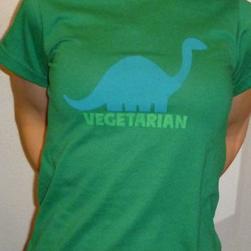Vegetarian Dinosaur Screenprinted Tee Shirt