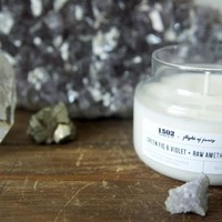 Buried Crystal Candle - Green Fig & Violet + Amethyst
