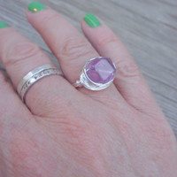 Ring wire wrapped purple flourite Violet dreams wrapped in tarnish free silver plated wire