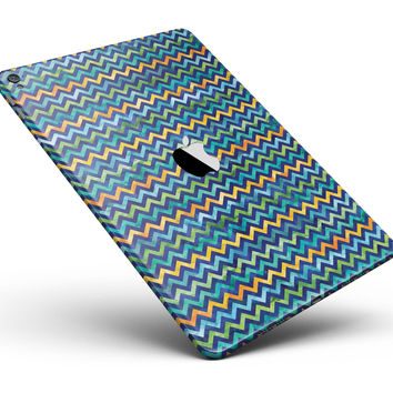 """Blue GreenYellow and Orange Watercolor Chevron Pattern Full Body Skin for the iPad Pro (12.9"""" or 9.7"""" available)"""