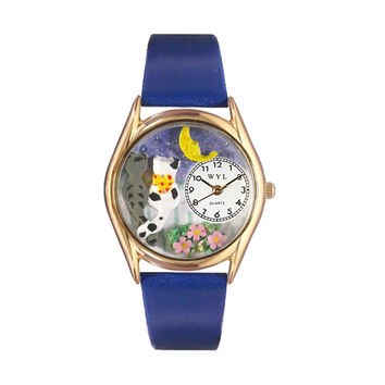 Whimsical Watches Healthcare Nurse Gift Accessories Cats Night Out Royal Blue Leather And Goldtone Watch