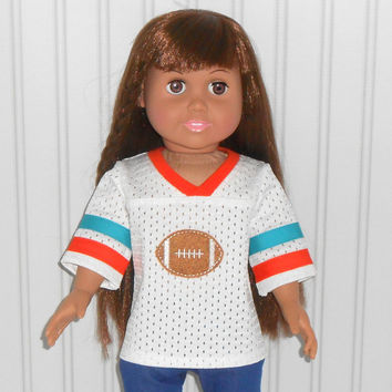 18 inch Girl or Boy Doll Clothes White Football Jersey with Orange and Teal Trim American Doll Clothes