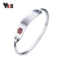 Vnox Free Engraving Medical Bracelets & Bangles ID Jewelry for Women Stainless Steel Metal Not Allergy