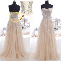 New Long Lace Champagne Prom Party Dress Cocktail Homecoming Bridesmaid Dresses