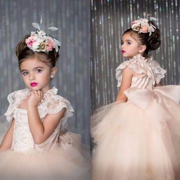 Flower Girls Dresses For Weddings 2017 Appliques Lace Layered Ribbon First Communion Dresses Birthday Girl Wear