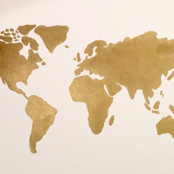 Gold Acrylic World Map- Original Painting