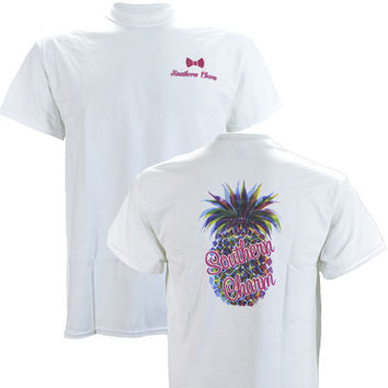 Southern Charm Pineapple on a White Short Sleeve T Shirt