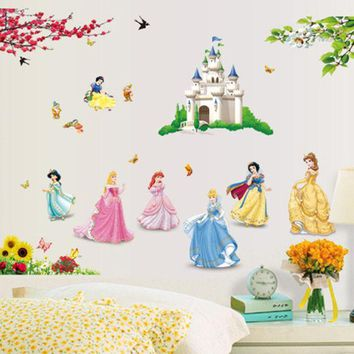 CREYHY3 1 set 33*43 Inch Princesses Wall Stickers For Kids Room Snow White Decals Art Wall Hone Decoration Child Wallpaper DF5102