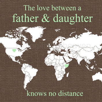 Gift From Daughter- world map dad, deployment map print, overseas travel, military dad gift, father and daughter, linen texture print