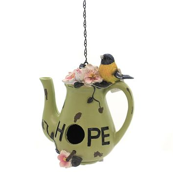 Home & Garden TEA POT BIRD HOUSE Polyresin Yellow Bird Hope A2254 Green