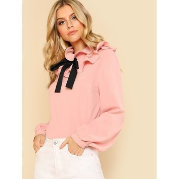 Bow Tie Layered Ruffle Collar Blouse